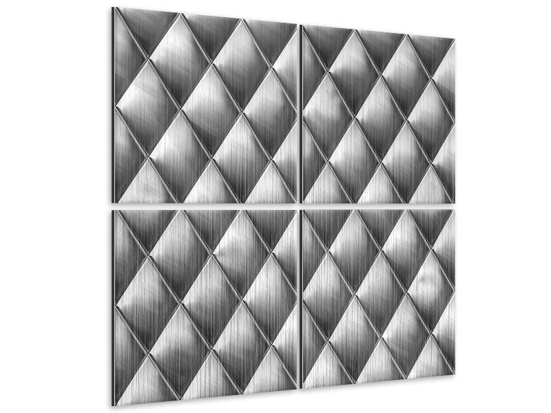 Metallic-Bild 4-teilig 3D-Rauten Silbergrau