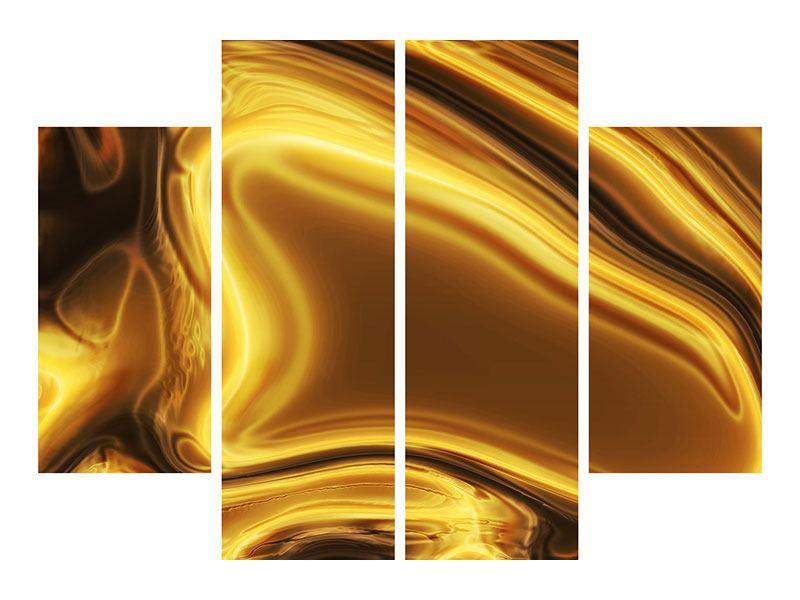 Metallic-Bild 4-teilig Abstrakt Flüssiges Gold