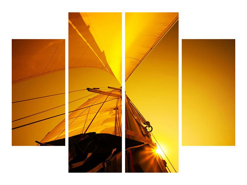 Metallic-Bild 4-teilig Segelboot im Sonnenuntergang