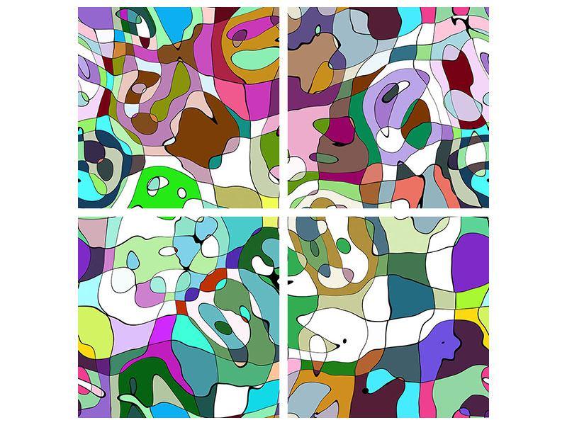 Metallic-Bild 4-teilig Kubistisches Gemälde