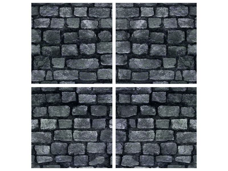 Metallic-Bild 4-teilig Graue Steinmauer