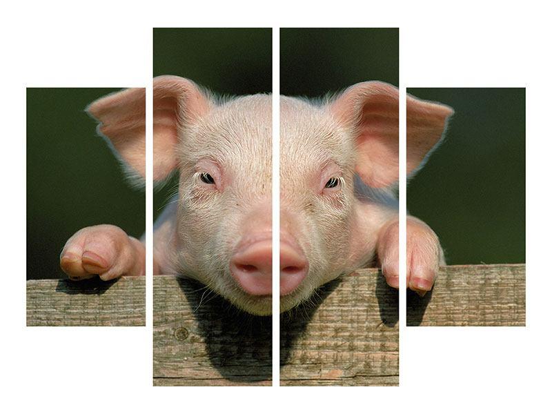 Metallic-Bild 4-teilig Schweinchen Namens Babe