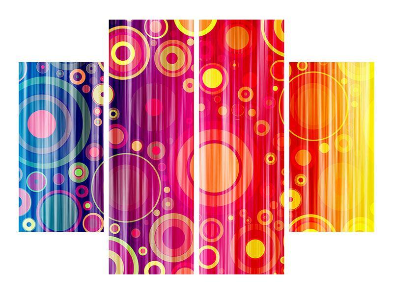 Metallic-Bild 4-teilig Grunge-Retrokreise