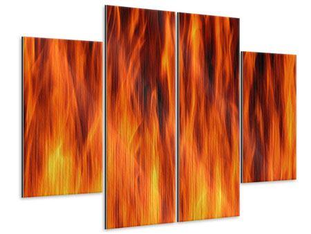 Metallic-Bild 4-teilig Feuer Close Up