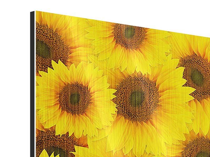 Metallic-Bild 4-teilig Ein Strauss Sonnenblumen
