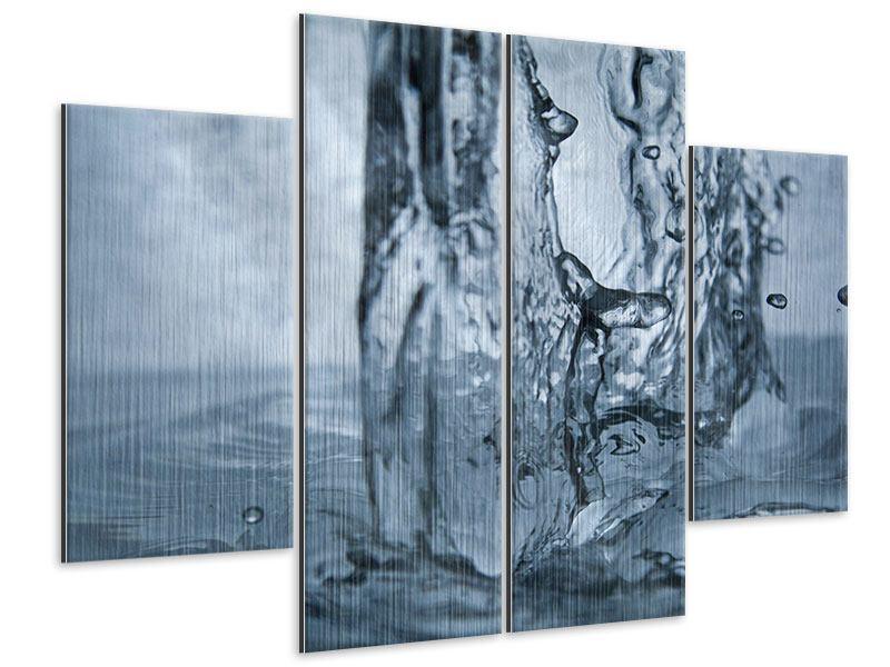 Metallic-Bild 4-teilig Wasserdynamik