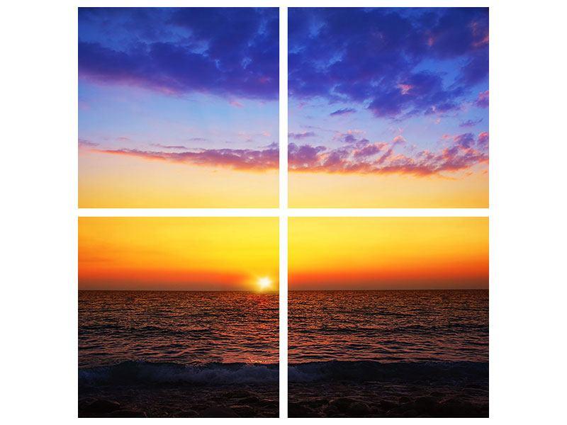 Metallic-Bild 4-teilig Leuchtender Sonnenuntergang