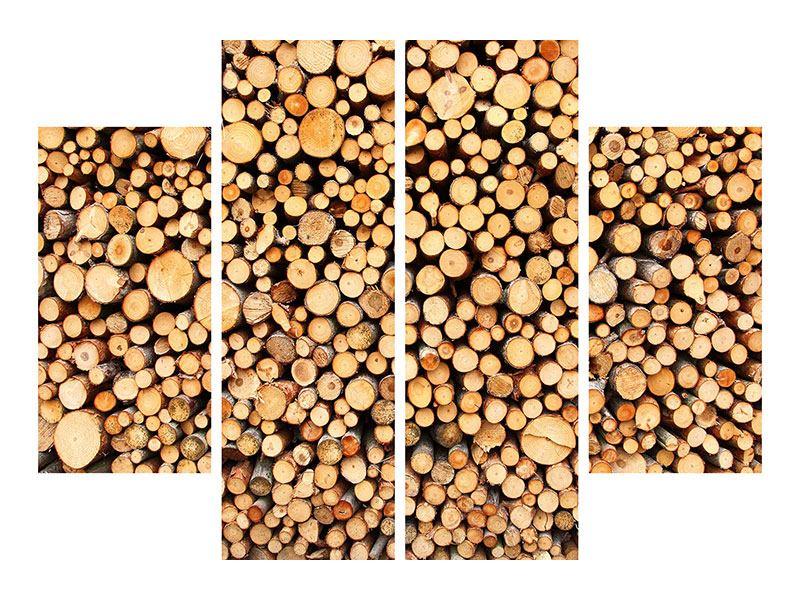 Metallic-Bild 4-teilig Holzstämme