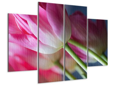 Metallic-Bild 4-teilig Makro Tulpen