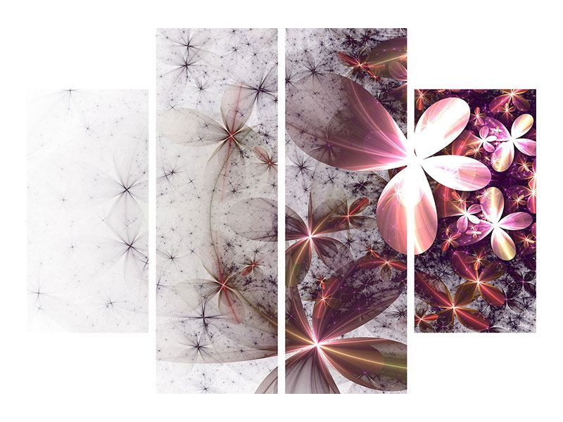 Metallic-Bild 4-teilig Abstrakte Blumen
