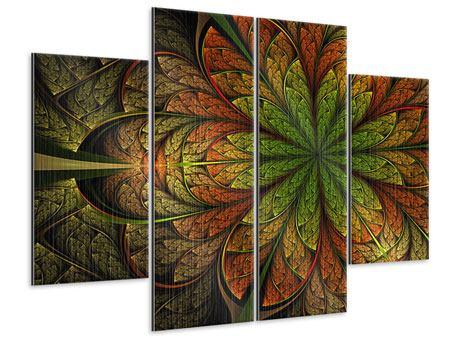 Metallic-Bild 4-teilig Abstraktes Blumenmuster
