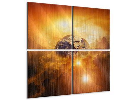 Metallic-Bild 4-teilig Mystischer Planet Erde