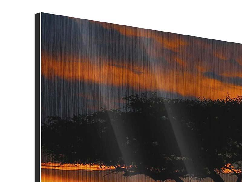 Metallic-Bild 4-teilig Sonnenuntergang in Kenia