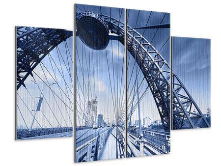Metallic-Bild 4-teilig Schiwopisny-Brücke