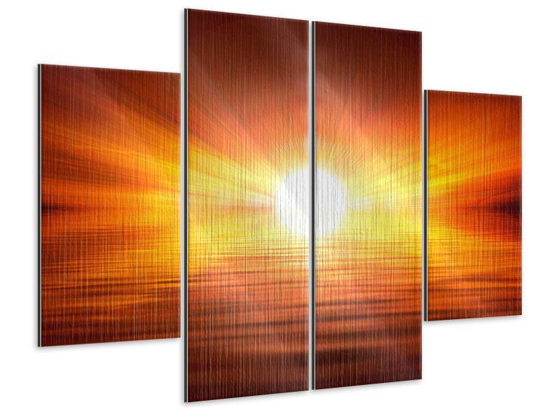 Metallic-Bild 4-teilig Glühender Sonnenuntergang