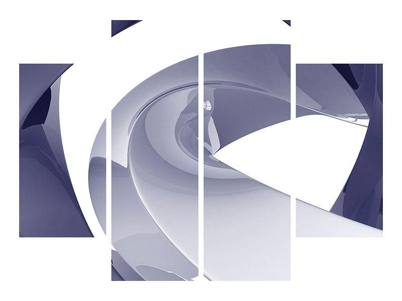 Metallic-Bild 4-teilig Abstrakte Schwingungen