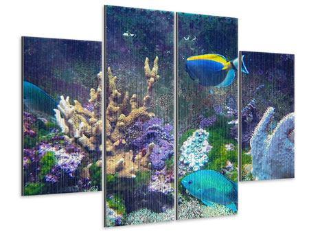 Metallic-Bild 4-teilig Fische
