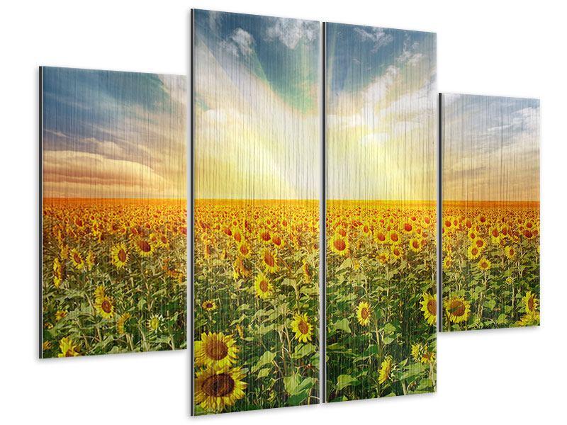 Metallic-Bild 4-teilig Ein Feld voller Sonnenblumen