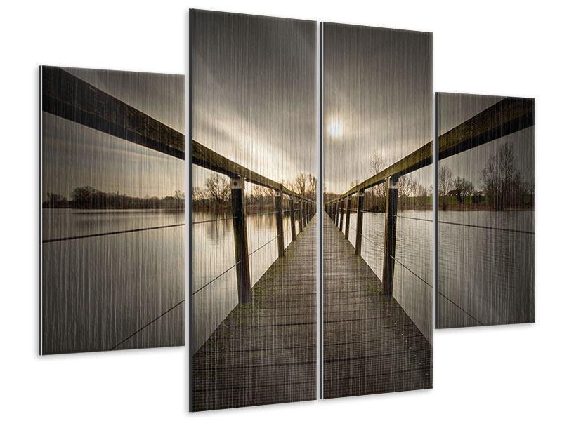 Metallic-Bild 4-teilig Die Holzbrücke