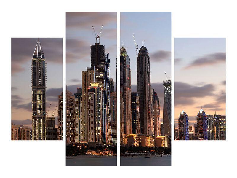 Metallic-Bild 4-teilig Skyline Dubai bei Sonnenuntergang