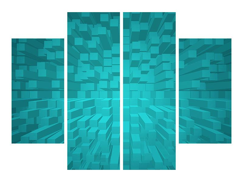 Metallic-Bild 4-teilig 3D-Kubusse