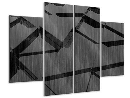 Metallic-Bild 4-teilig 3D-Dreiecksflächen