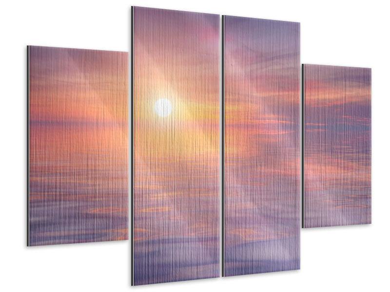 Metallic-Bild 4-teilig Sonnenuntergang auf See