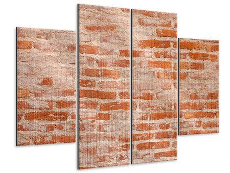 Metallic-Bild 4-teilig Mauerwerk