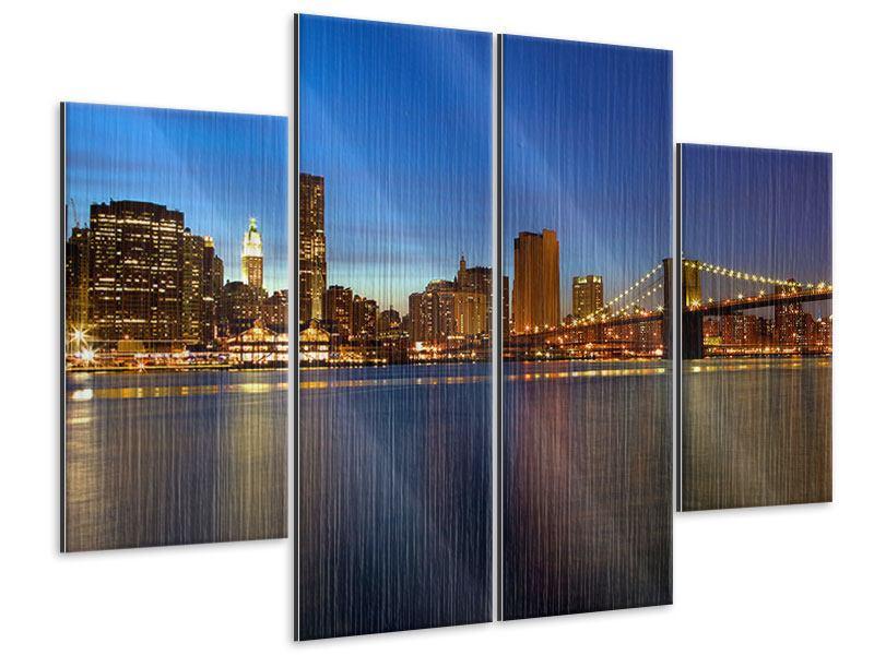 Metallic-Bild 4-teilig Skyline Manhattan im Lichtermeer