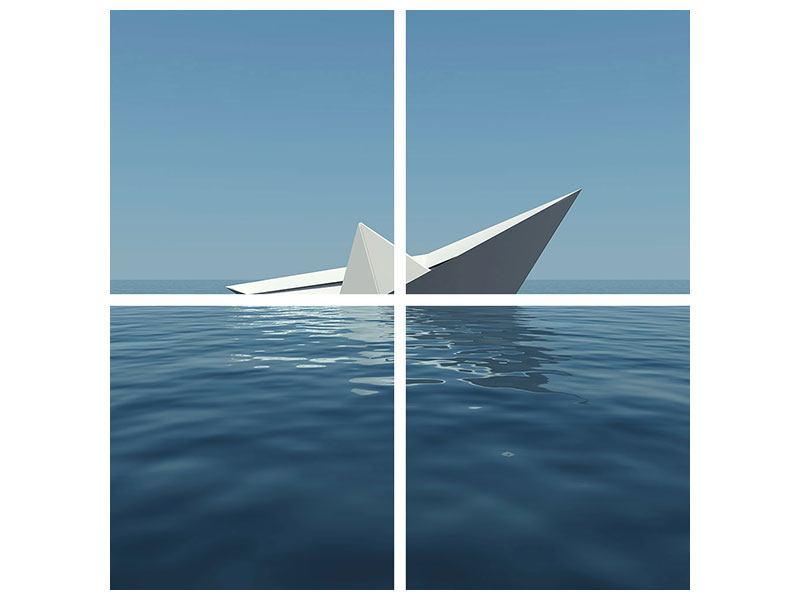 Metallic-Bild 4-teilig Papierschiffchen