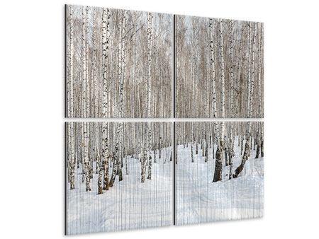 Metallic-Bild 4-teilig Birkenwald-Spuren im Schnee