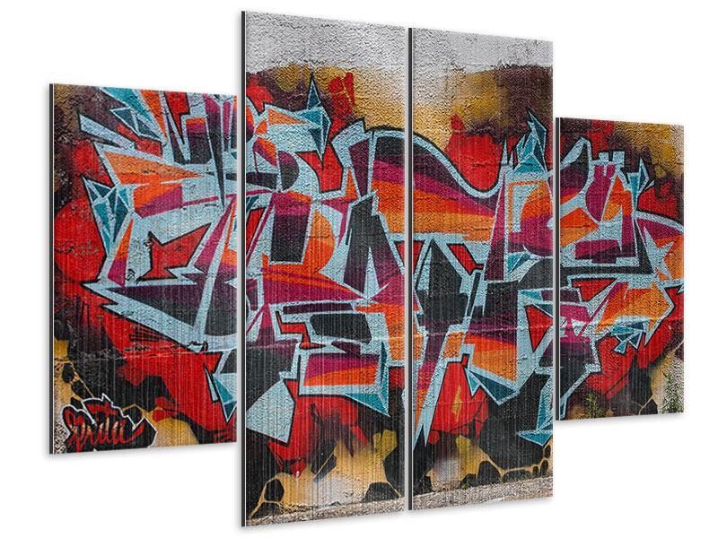 Metallic-Bild 4-teilig New York Graffiti