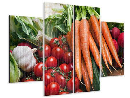 Metallic-Bild 4-teilig Gemüse