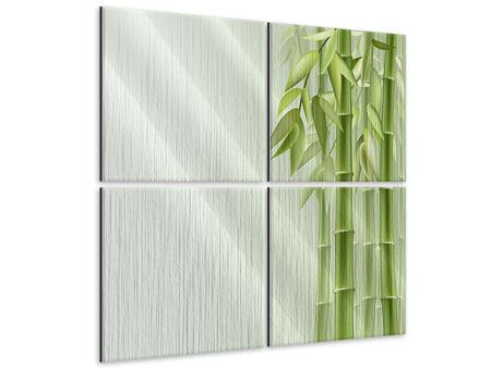 Metallic-Bild 4-teilig Bambuswall