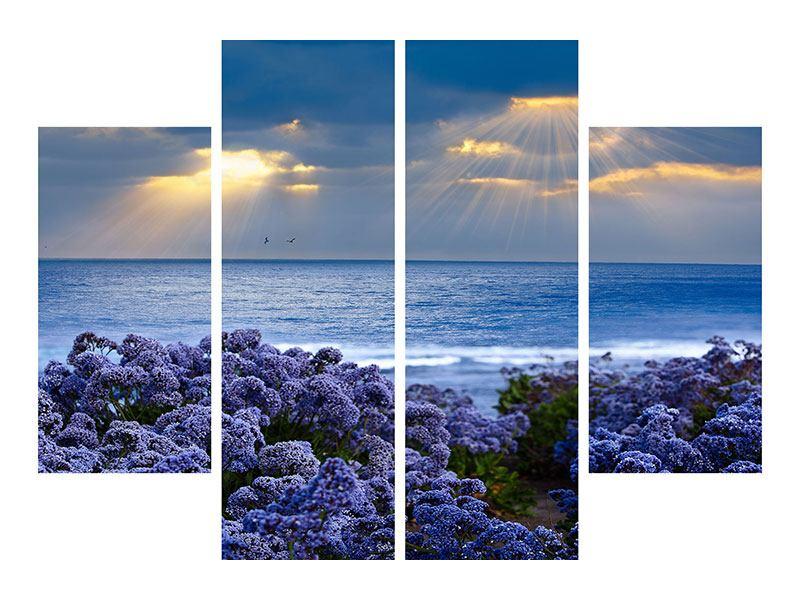 Metallic-Bild 4-teilig Der Lavendel und das Meer