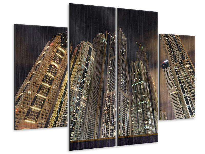 Metallic-Bild 4-teilig Wolkenkratzer Dubai Marina