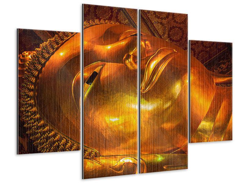 Metallic-Bild 4-teilig Liegender Buddha