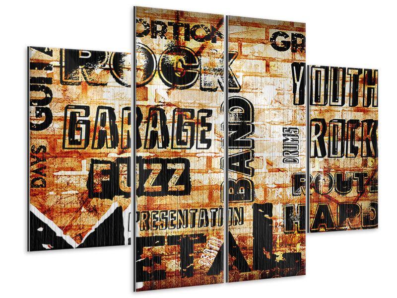 Metallic-Bild 4-teilig Rock im Grungestil