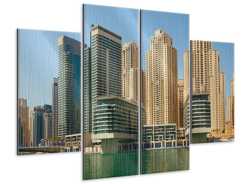 Metallic-Bild 4-teilig Spektakuläre Wolkenkratzer Dubai