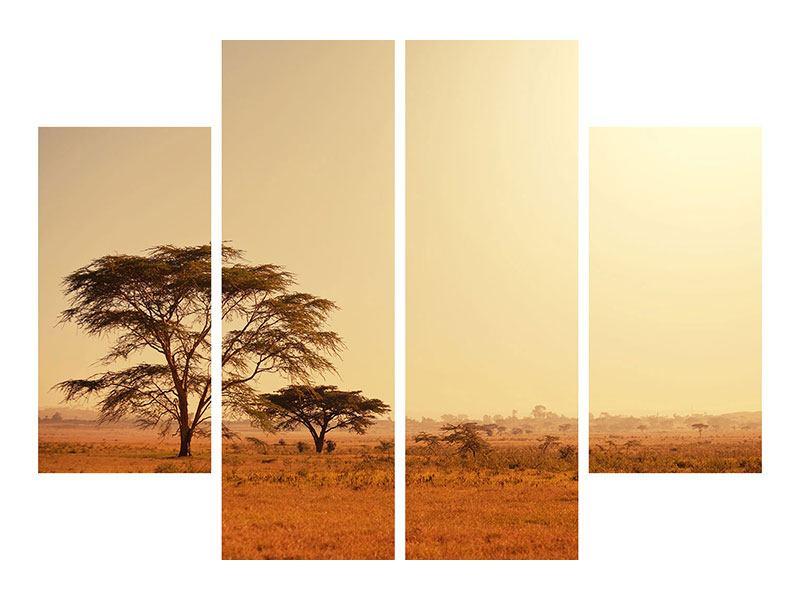 Metallic-Bild 4-teilig Weideland in Kenia