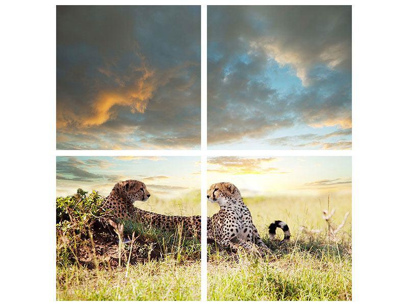 Metallic-Bild 4-teilig Geparden