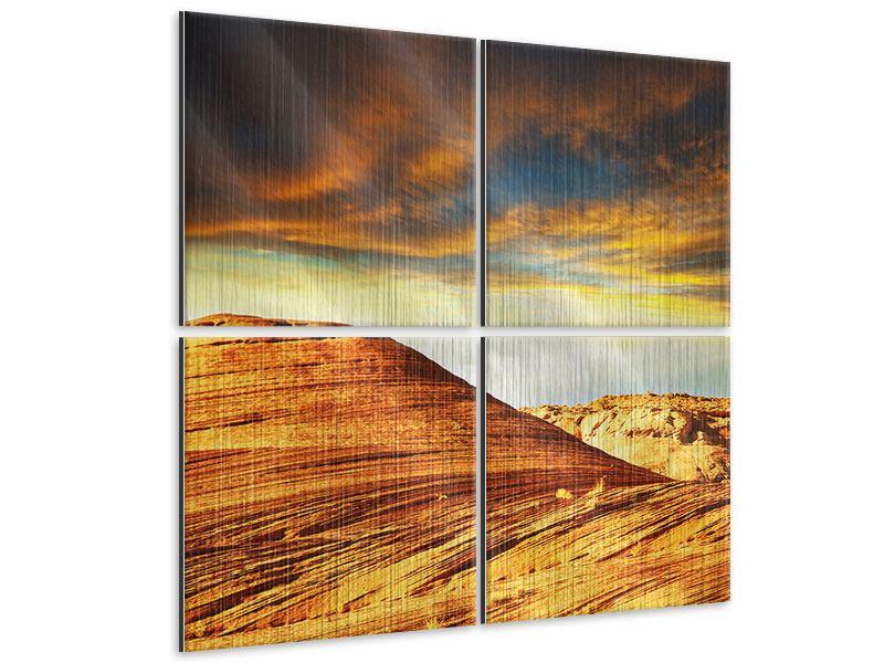 Metallic-Bild 4-teilig Die Wüste