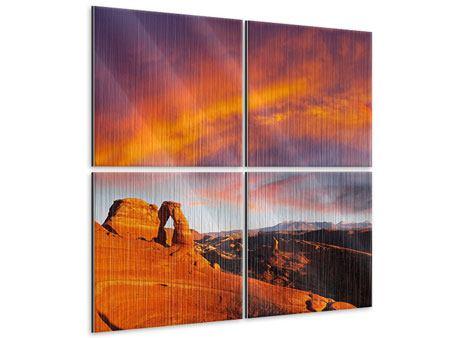 Metallic-Bild 4-teilig Sonnenuntergang im Canon
