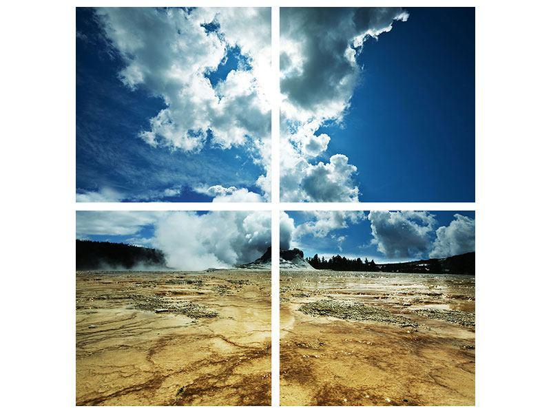 Metallic-Bild 4-teilig Vulkanlandschaft