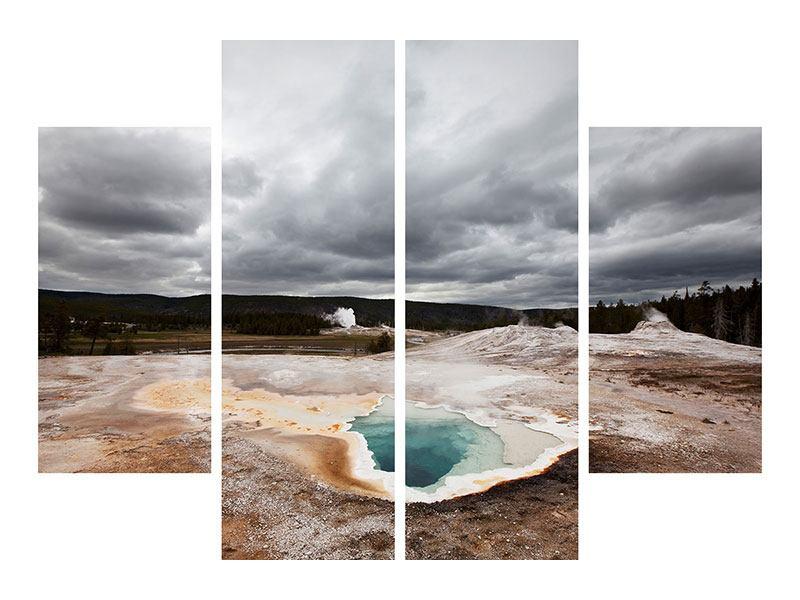 Metallic-Bild 4-teilig Vulkan