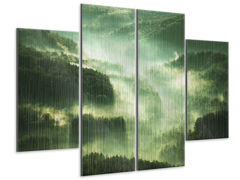 Metallic-Bild 4-teilig Über den Wäldern