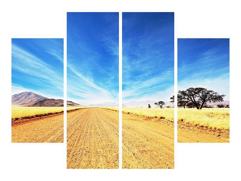 Metallic-Bild 4-teilig Eine Landschaft in Afrika