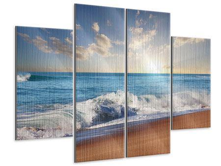 Metallic-Bild 4-teilig Die Wellen des Meeres