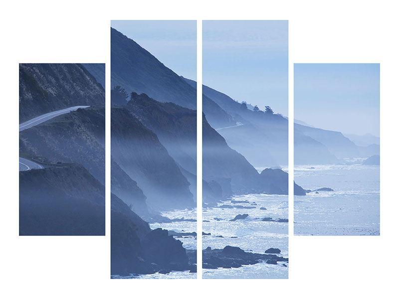 Metallic-Bild 4-teilig Bewegung im Wasser