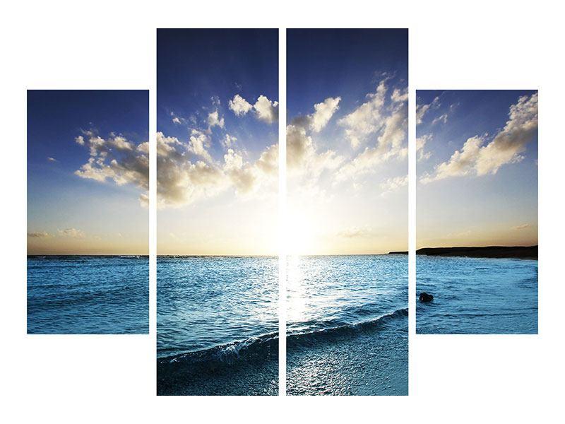 Metallic-Bild 4-teilig Das Meer im Sonnenaufgang